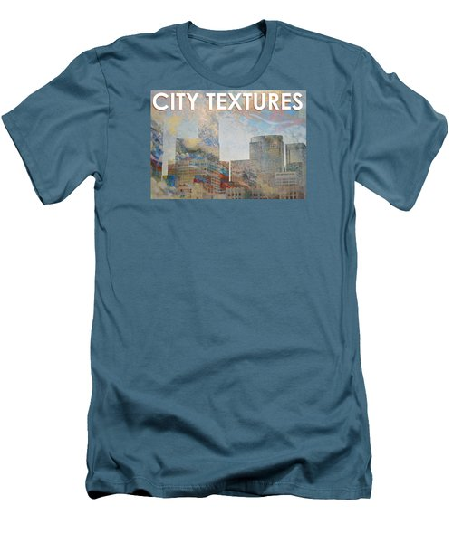 Men's T-Shirt (Slim Fit) featuring the mixed media Misty City Textures by John Fish