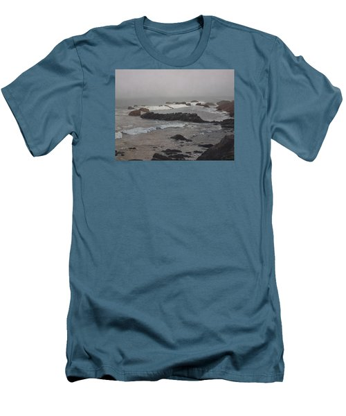 Misty Morning At Ragged Point, California Men's T-Shirt (Slim Fit) by Barbara Barber