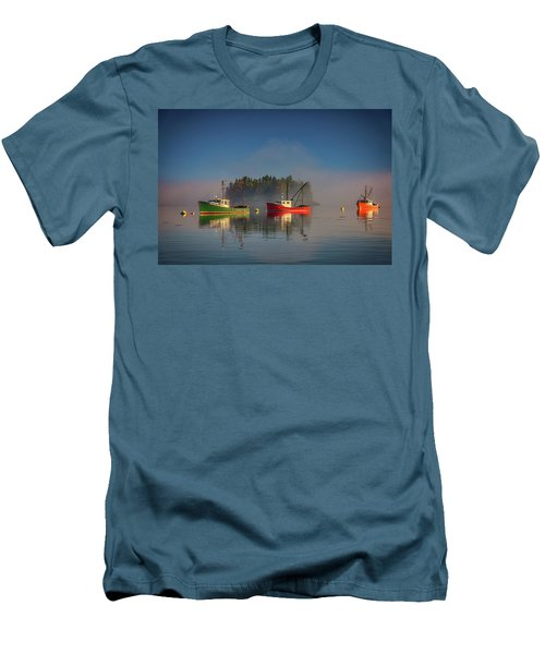 Men's T-Shirt (Athletic Fit) featuring the photograph Misty Morning On Johnson Bay by Rick Berk