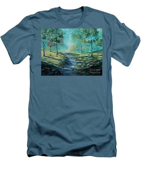 Misty Morning Path Men's T-Shirt (Slim Fit) by Ruanna Sion Shadd a'Dann'l Yoder