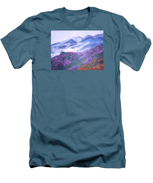 Men's T-Shirt (Slim Fit) featuring the painting Misty Mountain Hop by Donna Dixon