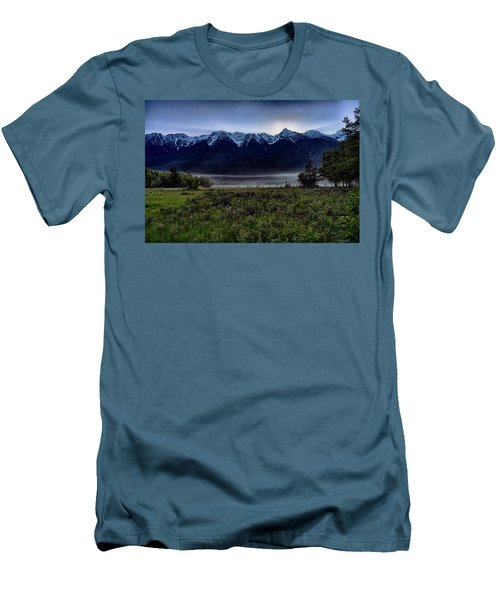 Men's T-Shirt (Slim Fit) featuring the photograph Misty Mountain Morning Meadow  by Darcy Michaelchuk