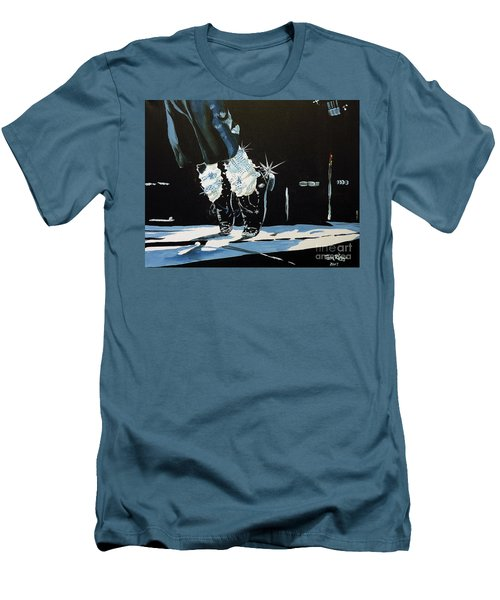 Men's T-Shirt (Slim Fit) featuring the painting Mj On His Toes by Tom Riggs