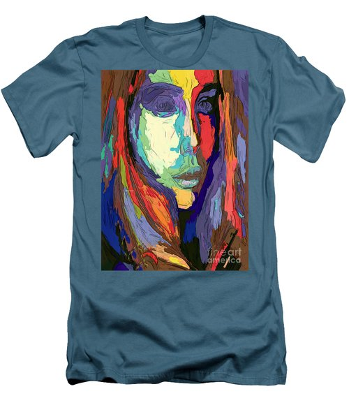 Men's T-Shirt (Athletic Fit) featuring the digital art Modern Impressionist Female Portrait by Rafael Salazar