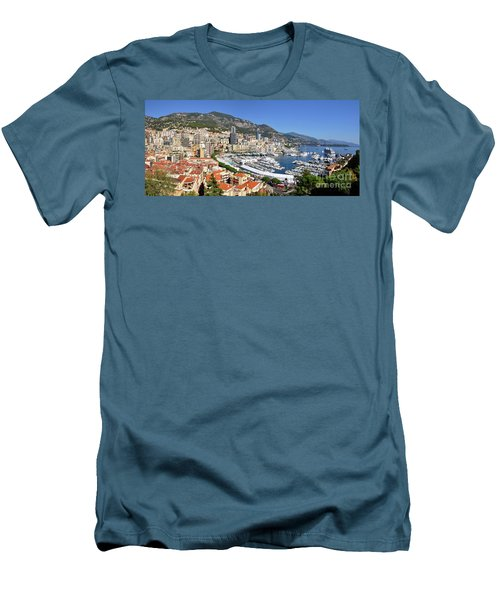 Men's T-Shirt (Slim Fit) featuring the photograph Monaco Port Hercule Panorama by Yhun Suarez