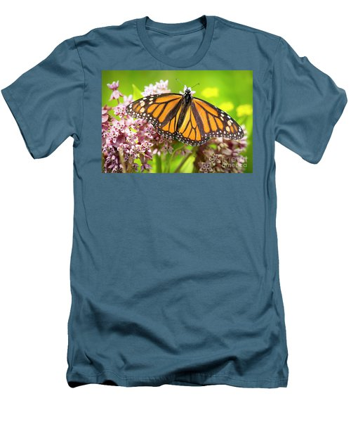 Men's T-Shirt (Athletic Fit) featuring the photograph Monarch Butterfly Closeup  by Ricky L Jones