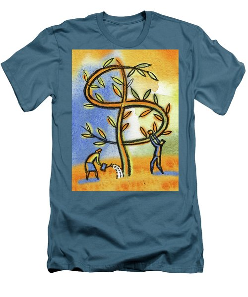 Men's T-Shirt (Slim Fit) featuring the painting Money Tree by Leon Zernitsky