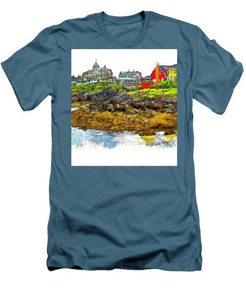 Men's T-Shirt (Slim Fit) featuring the photograph Monhegan West Shore by Tom Cameron
