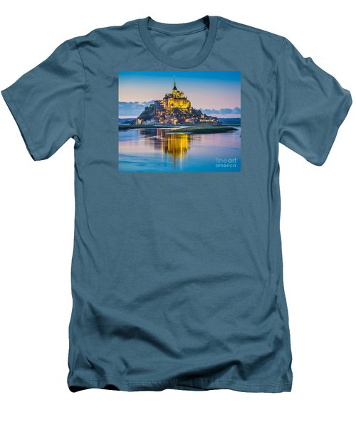 Mont Saint-michel In Twilight Men's T-Shirt (Slim Fit) by JR Photography