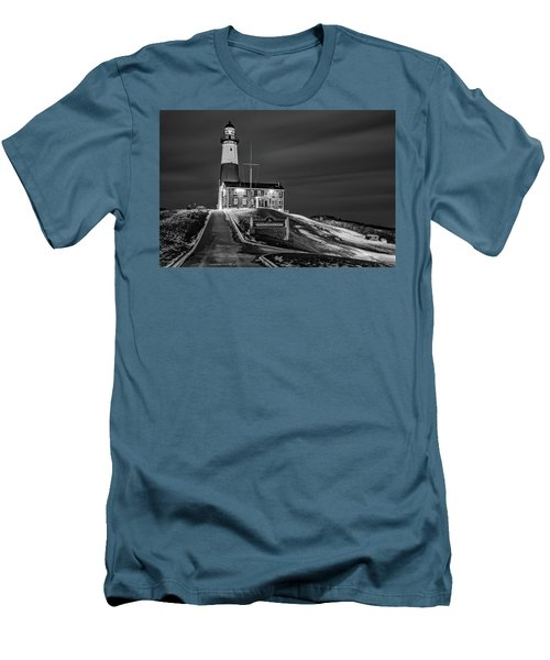 Men's T-Shirt (Slim Fit) featuring the photograph Montauk Point Lighthouse Bw by Susan Candelario
