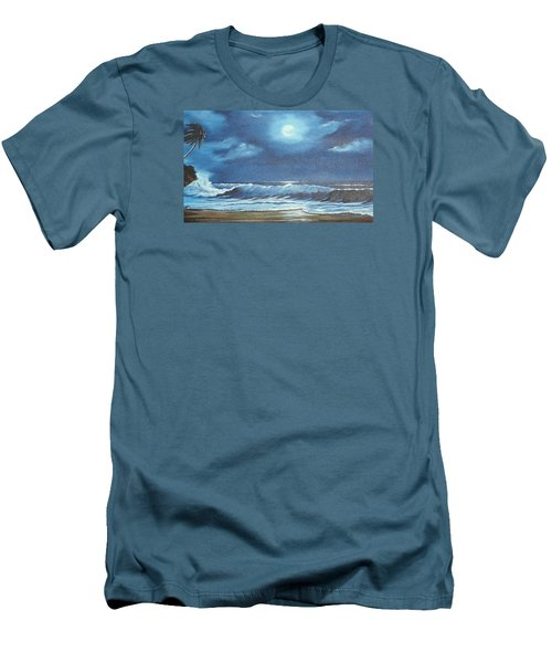 Moon Light Night In Paradise Men's T-Shirt (Slim Fit) by Lloyd Dobson