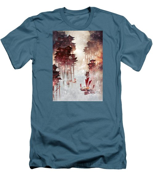 Men's T-Shirt (Slim Fit) featuring the digital art Moon Palace by Te Hu