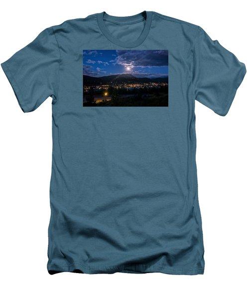 Moon Rising Over Breckenridge Men's T-Shirt (Slim Fit) by Michael J Bauer
