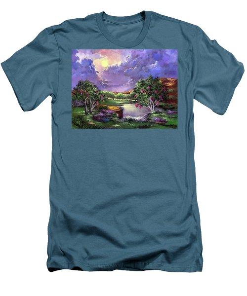 Moonlight In The Woods Men's T-Shirt (Slim Fit) by Randy Burns