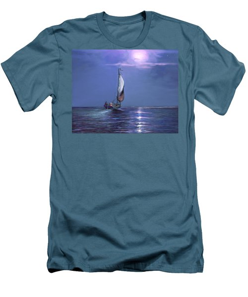 Moonlight Sailing Men's T-Shirt (Slim Fit) by David  Van Hulst
