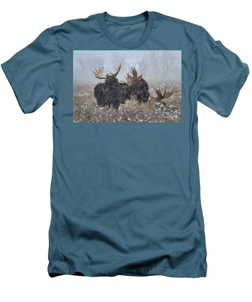 Men's T-Shirt (Slim Fit) featuring the photograph Moose Antlers In The Snow by Adam Jewell