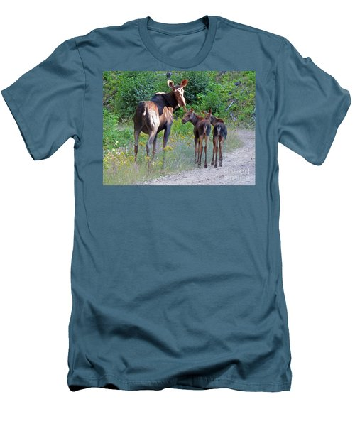 Moose Mom And Babies Men's T-Shirt (Slim Fit) by Cindy Murphy - NightVisions