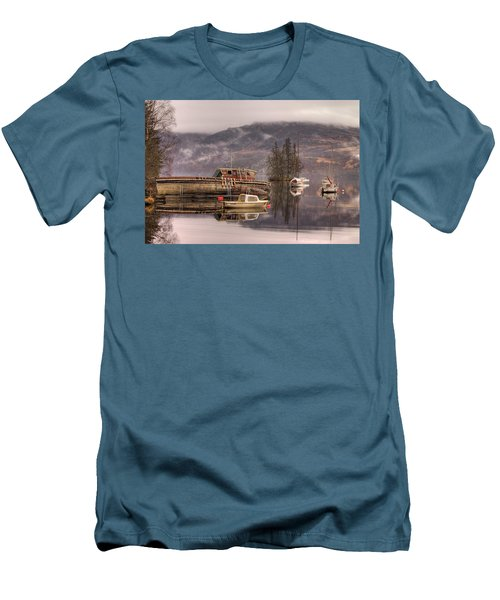 Morning Reflections Of Loch Ness Men's T-Shirt (Slim Fit) by Ian Middleton