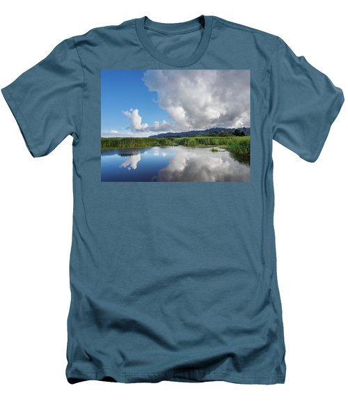 Men's T-Shirt (Slim Fit) featuring the photograph Morning Reflections On A Marsh Pond by Greg Nyquist