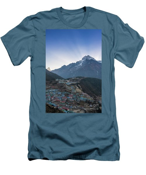 Men's T-Shirt (Slim Fit) featuring the photograph Morning Sunrays Namche by Mike Reid