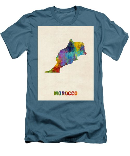 Men's T-Shirt (Slim Fit) featuring the digital art Morocco Watercolor Map by Michael Tompsett
