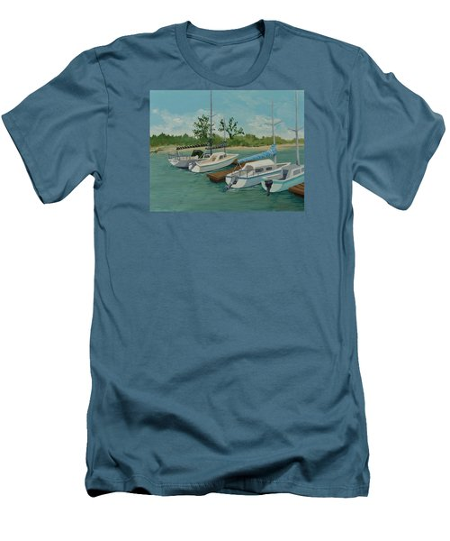 Men's T-Shirt (Slim Fit) featuring the painting Morro Bay State Park Ca by Katherine Young-Beck