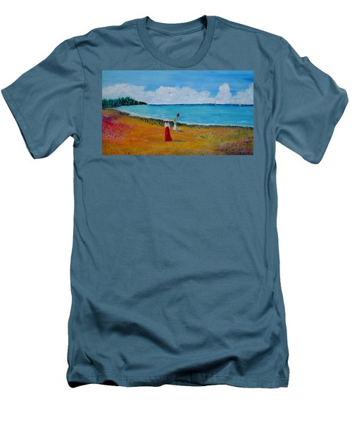 Men's T-Shirt (Slim Fit) featuring the painting Mother And Daughter by Marilyn  McNish