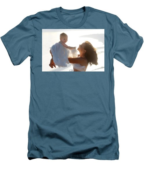 Mother With Baby In Pure Joy, Marin County, California Men's T-Shirt (Athletic Fit)