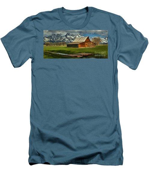 Moulton Barn Springtime Panorama Men's T-Shirt (Slim Fit) by Adam Jewell