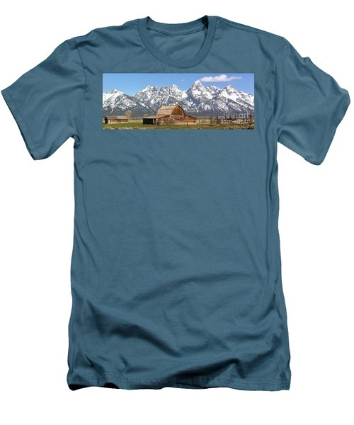 Moulton Barn Homestead Spring Panorama Men's T-Shirt (Slim Fit) by Adam Jewell