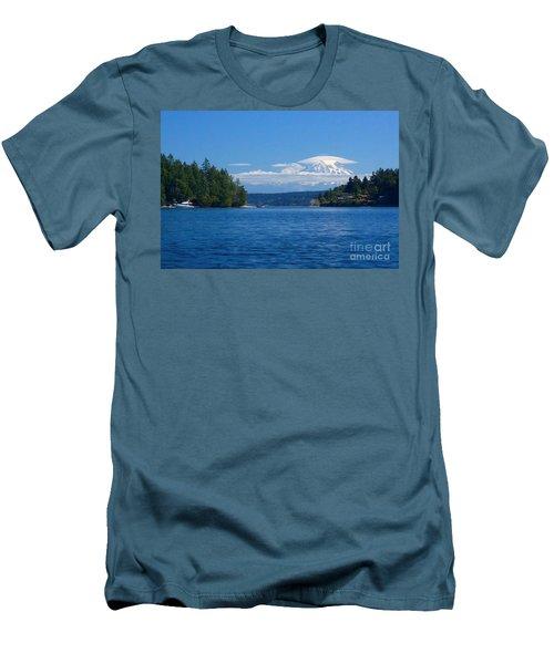 Mount Rainier Lenticular Men's T-Shirt (Slim Fit) by Sean Griffin