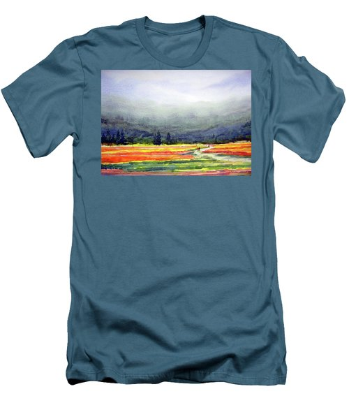 Men's T-Shirt (Slim Fit) featuring the painting Mountain Flowers Valley by Samiran Sarkar