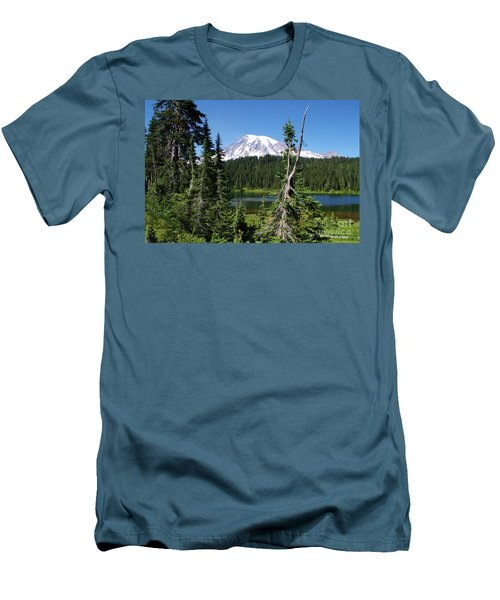 Mountain Lake And Mount Rainier Men's T-Shirt (Athletic Fit)