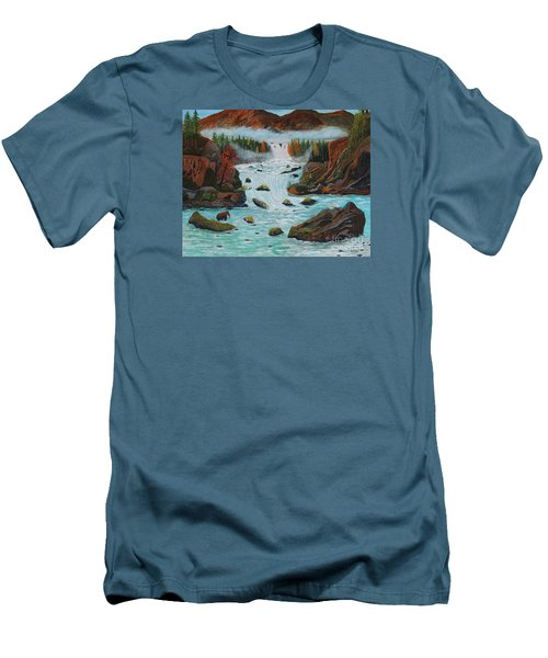 Mountains High Men's T-Shirt (Slim Fit) by Myrna Walsh