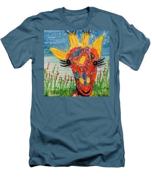 Men's T-Shirt (Slim Fit) featuring the painting Mrs Giraffe by Suzanne Canner