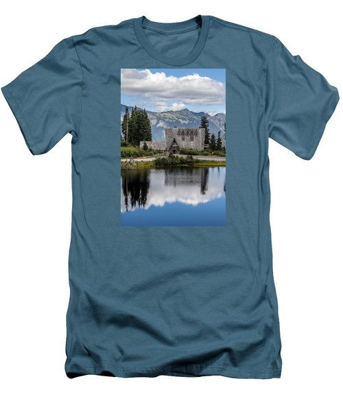 Men's T-Shirt (Slim Fit) featuring the photograph Mt Baker Lodge Reflecting In Picture Lake 3 by Rob Green