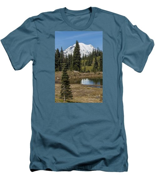 Mt Rainier Reflection Portrait Men's T-Shirt (Athletic Fit)