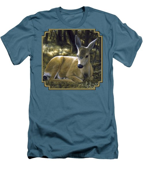 Mule Deer Fawn - A Quiet Place Men's T-Shirt (Slim Fit) by Crista Forest