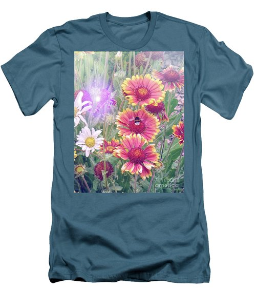 Multi Coloured Flowers With Bee Men's T-Shirt (Slim Fit) by Lynn Bolt