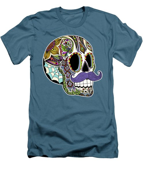Men's T-Shirt (Slim Fit) featuring the drawing Mustache Sugar Skull by Tammy Wetzel