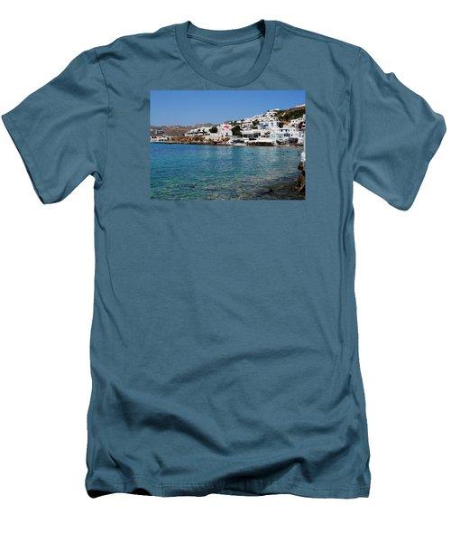 Mykonos Beach Men's T-Shirt (Slim Fit) by Robert Moss