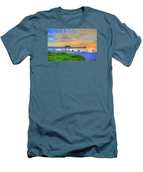 Men's T-Shirt (Slim Fit) featuring the digital art Naples Beach by Sharon Batdorf