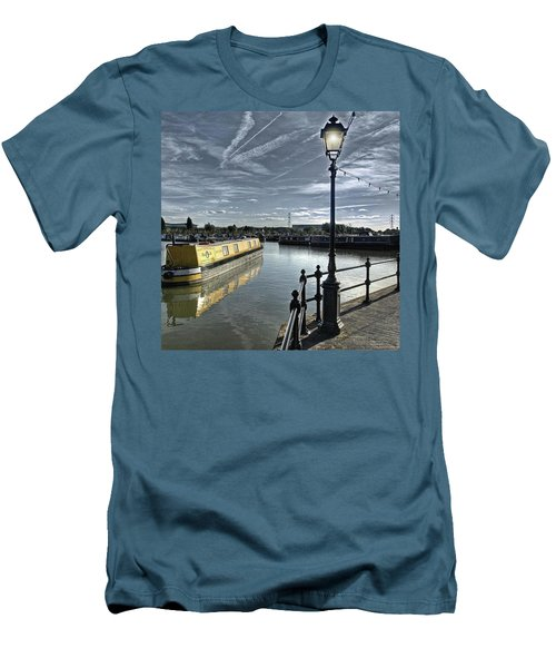Narrowboat Idly Dan At Barton Marina On Men's T-Shirt (Slim Fit) by John Edwards