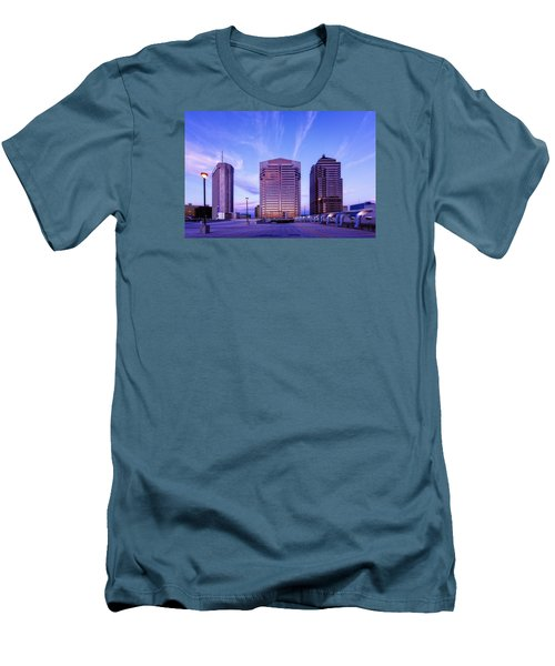 Men's T-Shirt (Slim Fit) featuring the photograph Nationwide Plaza Evening by Alan Raasch
