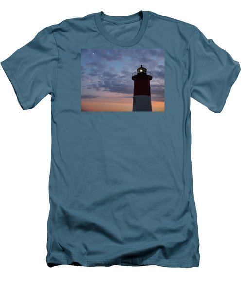 Nauset Light Lighthouse At Sunset Men's T-Shirt (Slim Fit) by Marianne Campolongo