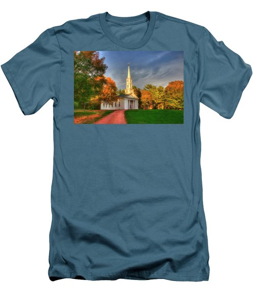 Men's T-Shirt (Athletic Fit) featuring the photograph New England Autumn - White Chapel by Joann Vitali