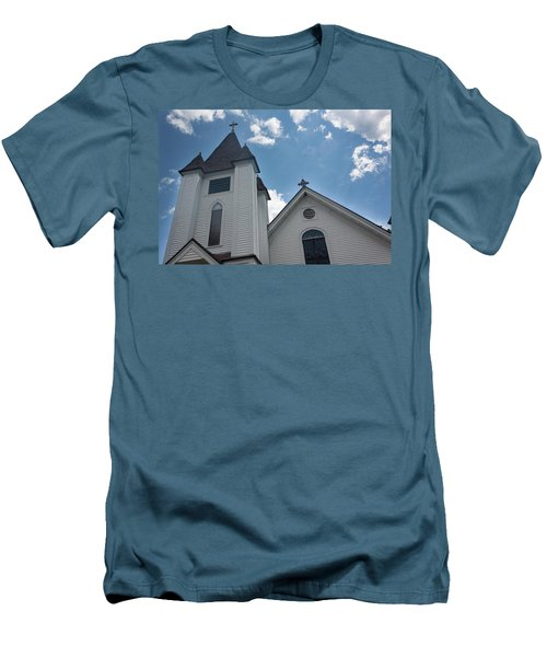New England Church Men's T-Shirt (Slim Fit) by Suzanne Gaff