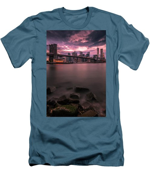 Men's T-Shirt (Slim Fit) featuring the photograph New York City Brooklyn Bridge Sunset by Ranjay Mitra