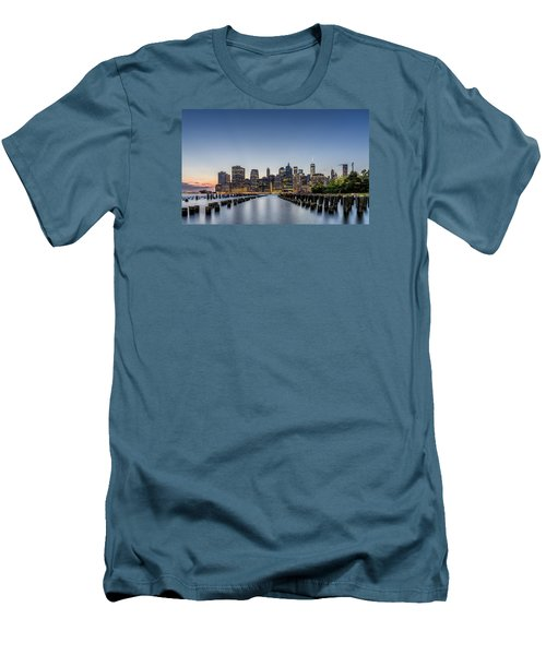 Men's T-Shirt (Slim Fit) featuring the photograph New York City Dusk by Rafael Quirindongo