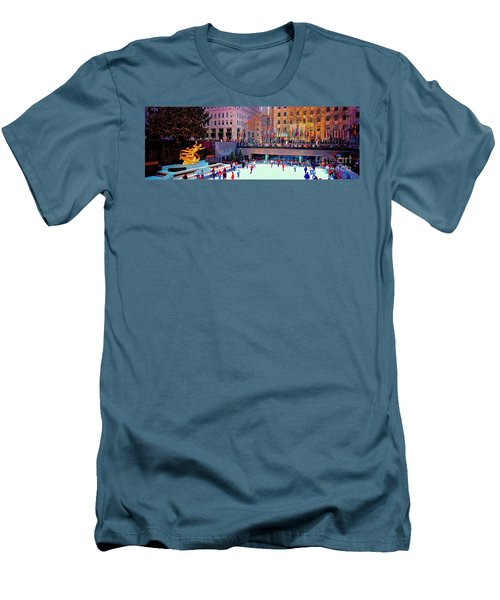Men's T-Shirt (Slim Fit) featuring the photograph  New York City Rockefeller Center Ice Rink  by Tom Jelen